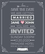 Vintage wedding invitation card template Stock Illustration