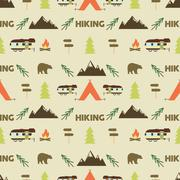 Hiking seamless pattern.  trail  wallpaper design. Equipment for outdoor walking Stock Illustration