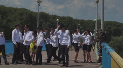 Graduates of the military school on the bridge Stock Footage