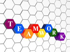 teamwork in colour hexahedrons in cellular structure - stock illustration