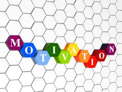 motivation in colour hexahedrons in cellular structure - stock illustration