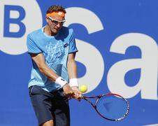 Uzbek tennis player Denis Istomin Stock Photos