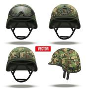 Set of Military tactical helmets camouflage color - stock illustration