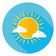 Flat Sky Sun and Clouds Circle Icon with Long Shadow - stock illustration