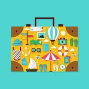 Flat Vacation Summer Holiday Objects Set Stock Illustration