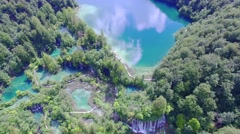 Aerial view of waterfalls and lakes in Plitvice National Park Stock Footage