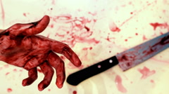 Bloody Hand with a Knife / Murder Stock Footage