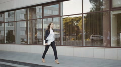 Business Woman Walking Outdoor In City. Office Worker In Downtown. - stock footage