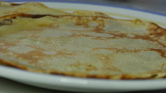 Prepare Pancakes in a Frying Pan Stock Footage