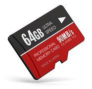 High speed 64GB MicroSD flash memory cards Stock Illustration