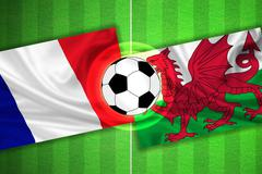 France - Wales - Soccer field with ball - stock illustration