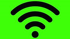 WiFi symbol graphic resource keyable green screen looping animation black - stock footage