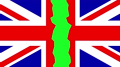 Uk flag spilling apart animation transition green screen Stock Footage