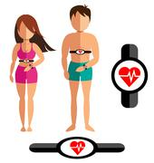 Heart rate monitor for healthy man and women - stock illustration