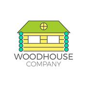 Vector wood house logo design, real estate icon suitable for info graphics - stock illustration