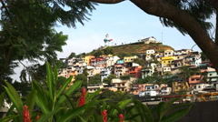 Cerro santa ana in ecuador framed by trees and ginger flowers Stock Footage