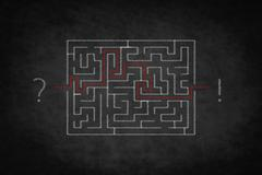 problem solving concept - question answer ,  labyrinth on chalkboard - stock illustration