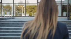 Young Business Woman Walking Up On Stairs And Making a Phone Call, Outdoors Stock Footage