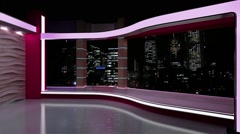 News TV Studio Set 180- Virtual Green Screen Background Loop - stock footage