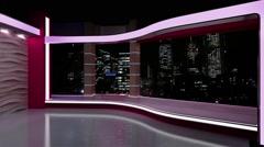 News TV Studio Set 180- Virtual Green Screen Background Loop Stock Footage