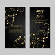 Set of wedding invitation cards design Stock Illustration