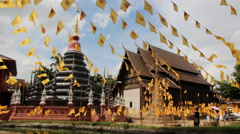 Wat Phan Tao temple in Chiang Mai.Thailand Stock Footage