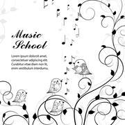 Vector illustration of singing birds on branch - stock illustration