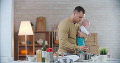 Father on Kitchen Stock Footage