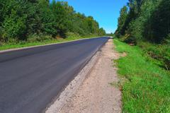 Empty highway through green forest - stock photo