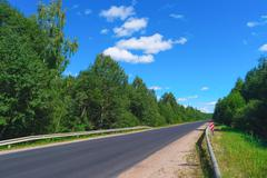 Empty highway and green forest Stock Photos