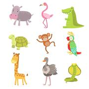 African Animals Icon Set Stock Illustration
