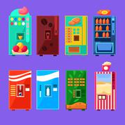 Food And Drink Vending Machines Design Set Stock Illustration