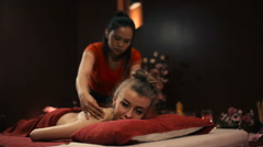 Thai massage shoulder. Stock Footage