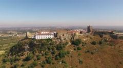 Medieval Castelo de Palmela aerial view Stock Footage