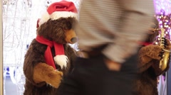 Christmas decoration background in shopping mall with two toy bears Stock Footage