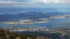 Panning shot of hobart and storm bay from mt wellington Stock Footage