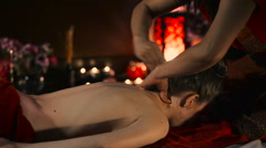Thai massage of the neck. Stock Footage