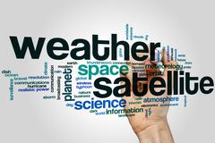 Weather satellite word cloud Stock Illustration