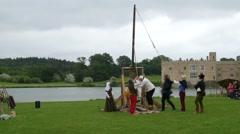 Loading a medieval trebouchet Stock Footage