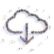 People downloading cloud 3d Stock Illustration