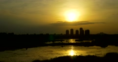 Timelapse Sunset Over Bucharest City Skyline In Romania Stock Footage