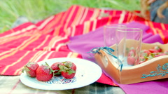 Summer picnic with straberry and milk Stock Footage