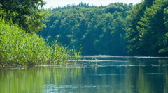 Summer landscape with calm river on lowland - stock footage