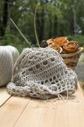 Openwork crochet from natural fibers Stock Photos