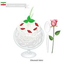 Faludeh or Iranian Rice Noodle And Rose Water Syrup - stock illustration
