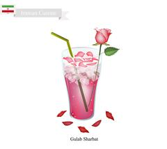 Gulab Sharbat or Iranian Drink Made From Rose and Aromatic Syrup Stock Illustration