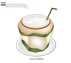 Coconut Sharbat or Iranian Drink From Coconut and Aromatic Syrup Stock Illustration