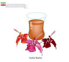 Gurhal Sharbat or Iranian Drink Made From Hibiscus and Aromatic Syrup Stock Illustration
