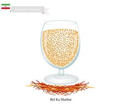 Bel Ka Sharbat, A Popular Drink in Iran Stock Illustration
