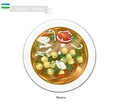 Shorva or Uzbekistan Potato, Meat and Beans Stew Stock Illustration